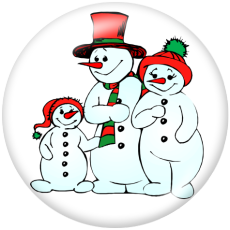 Painted metal 20mm snap buttons  Christmas Snowman  Print