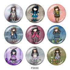 Painted metal 20mm snap buttons  doll Print