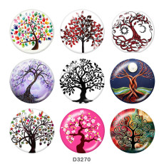 Painted metal 20mm snap buttons  Tree of life Print