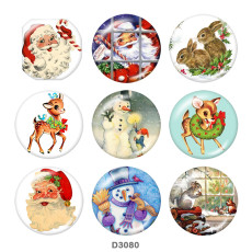 Painted metal 20mm snap buttons  Christmas