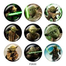 Крашеные металлические кнопки 20мм Master Yoda Print