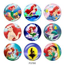 Painted metal 20mm snap buttons  mermaid Print