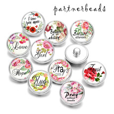 Painted metal 20mm snap buttons   Love  Hope   Print