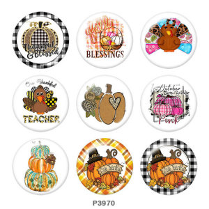Painted metal 20mm snap buttons  Thanksgiving Print