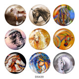 Painted metal 20mm snap buttons  horse   Print