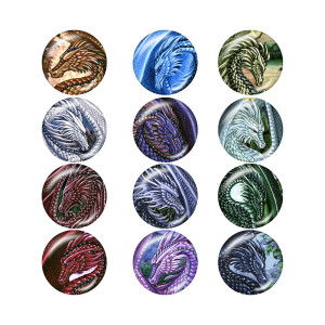 Painted metal  Dragon 20mm snap buttons  Birthstone 12 constellations  snap bottom