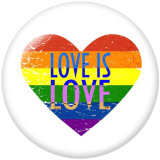 Painted metal 20mm snap buttons   Free love  Print
