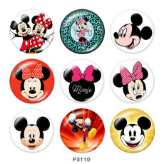 Painted metal 20mm snap buttons   Mickey Print