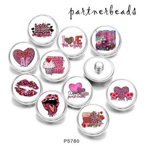ペイント メタル 20mm スナップ ボタン ラブ プリント ピンク キス