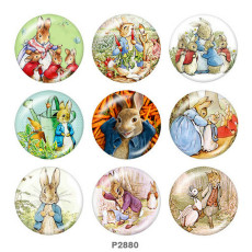 Painted metal 20mm snap buttons  rabbit Print