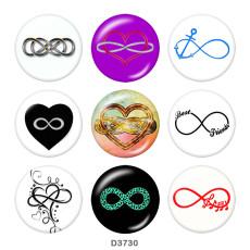 ペイント メタル 20mm スナップ ボタン Infinity LOVE 信仰プリント