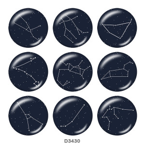 Painted metal 20mm snap buttons  Birthstone12 constellations  snap bottom