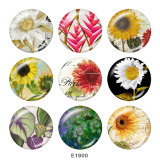 Painted metal 20mm snap buttons   Sunflower  Print