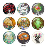 Painted metal 20mm snap buttons   girl   Print