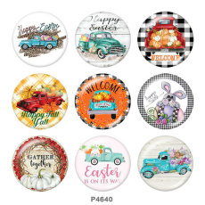 Painted metal 20mm snap buttons  Easter Print