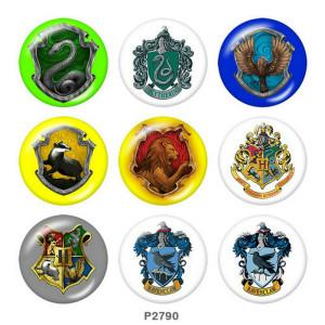 Boutons pression 20 mm en métal peint Imprimé Harry Potter