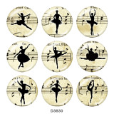 Painted metal 20mm snap buttons  Ballet  Print