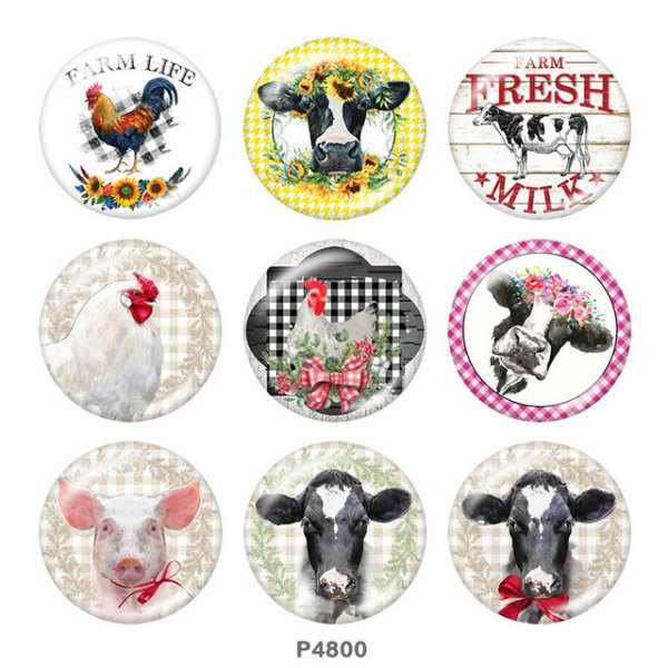 Painted metal 20mm snap buttons  farm Print