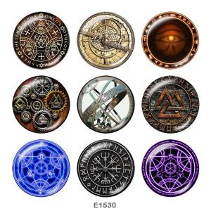 Окрашенные металлические кнопки, 20 мм, принт с камнем