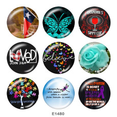 Painted metal 20mm snap buttons    Butterfly  Tree  Print