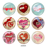 Painted metal 20mm snap buttons  love Print