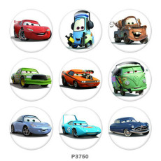 Painted metal 20mm snap buttons  Cars Print