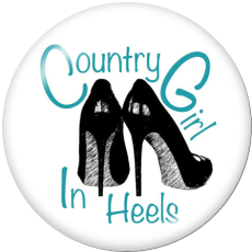 Painted metal 20mm snap buttons  country girl Print