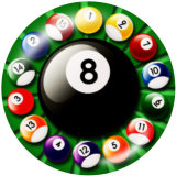 Painted metal 20mm snap buttons  snooker Print