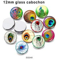 10 pcs/lot produits d'impression d'image en verre de paon de différentes tailles cabochon d'aimant de réfrigérateur