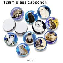 10 pcs/lot produits d'impression d'image en verre de chat de différentes tailles cabochon d'aimant de réfrigérateur