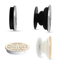 Accessoires en cuivre Le support de téléphone portable Prises de téléphone peintes avec une base à motif imprimé noir ou blanc