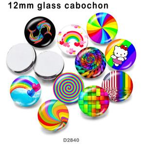 10 шт. / Лот цветной узор на стекле, печатная продукция различных размеров, магнит на холодильник, кабошон