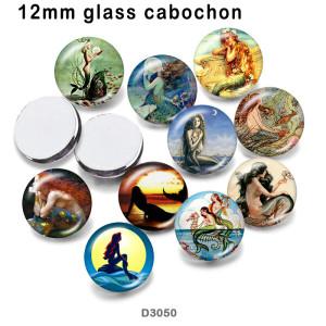 10 шт. / Лот, стеклянная печатная продукция с изображением русалки, различных размеров, магнит на холодильник, кабошон