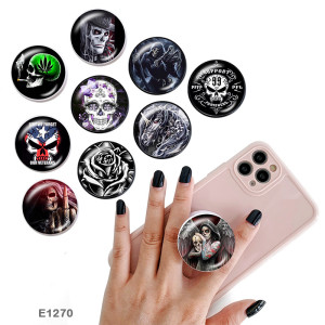 Skull The mobile phone holder Painted phone sockets with a black or white print pattern base
