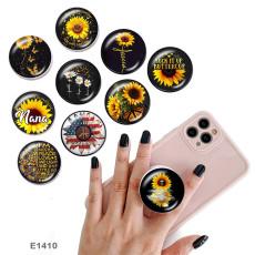 Tournesol Le support de téléphone portable Prises de téléphone peintes avec une base à motif imprimé noir ou blanc
