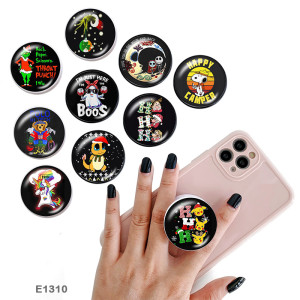 Cartoon christmas The mobile phone holder Painted phone sockets with a black or white print pattern base