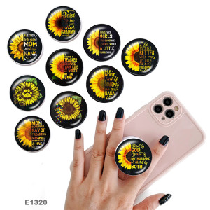 Sunflower The mobile phone holder Painted phone sockets with a black or white print pattern base