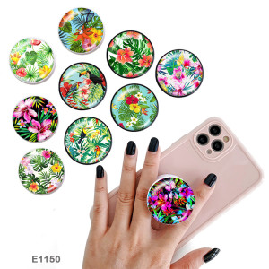 Tropical rainforest flowers The mobile phone holder Painted phone sockets with a black or white print pattern base
