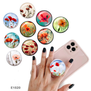 花 携帯電話ホルダー 黒または白のプリント柄のベースに塗装された電話ソケット