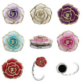 Rose Camellia Oil Drops with Rhinestones painting oil bag hook can be externally hanging decorative bag hanging
