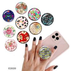 Plantez des fleurs Le support de téléphone portable Prises de téléphone peintes avec une base à motif imprimé noir ou blanc