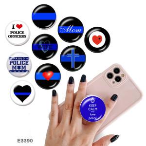 Flag Police Faith El soporte para teléfono móvil Tomas de teléfono pintadas con una base estampada en blanco o negro