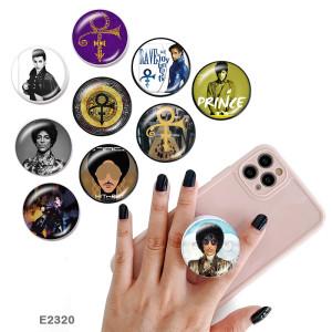 Símbolo de superestrella El soporte para teléfono móvil Tomas de teléfono pintadas con una base estampada en blanco o negro