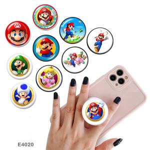 漫画のスーパー メアリー 携帯電話ホルダー 黒または白のプリント パターン ベースの塗装済み電話ソケット