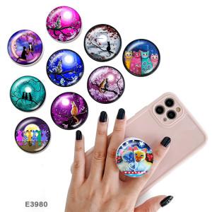 Chat Le support de téléphone portable Prises de téléphone peintes avec une base à motif imprimé noir ou blanc