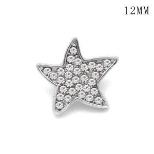 Star 12MM snap silver plated  interchangable snaps jewelry