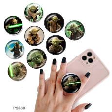 Master Yoda Le support de téléphone portable Prises de téléphone peintes avec une base à motif imprimé noir ou blanc