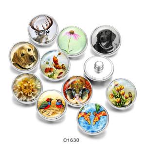 Стеклянные кнопки с принтом в виде собак и птиц, 20 мм