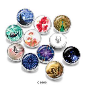 Botones a presión de vidrio con estampado de mariposa Flowe de 20 mm