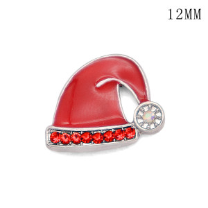 Chapeau de Noël cross12MM snap plaqué argent snaps bijoux interchangeables